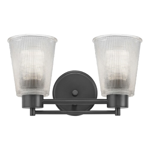 Design Classics Lighting Prismatic Glass Modern Bathroom Light Black 2 Lt 702-07 GL1056-FC
