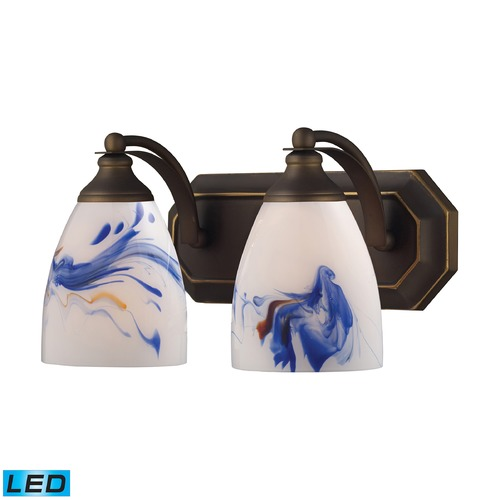Elk Lighting Elk Lighting Bath and Spa Aged Bronze LED Bathroom Light 570-2B-MT-LED