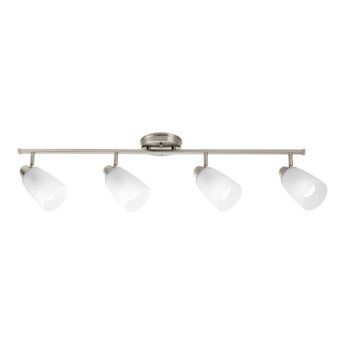 Progress Lighting Modern Directional Spot Light with White Glass in Brushed Nickel Finish P3362-09