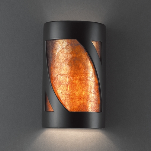 Justice Design Group Sconce Wall Light with White in Carbon Matte Black Finish CER-7325-CRB