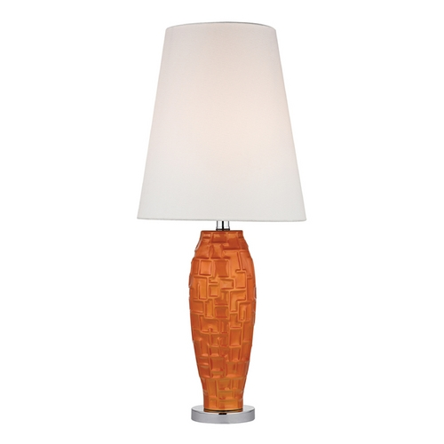 Dimond Lighting Tangerine Orange Table Lamp with White Shade in Polished Nickel Finish D2507-LED