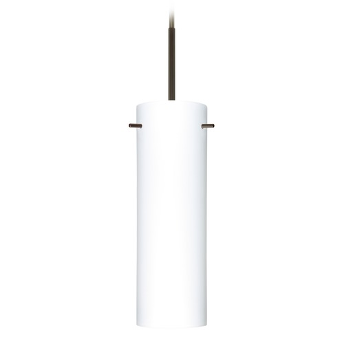 Besa Lighting Besa Lighting Copa Bronze Mini-Pendant Light with Cylindrical Shade 1BT-493007-BR