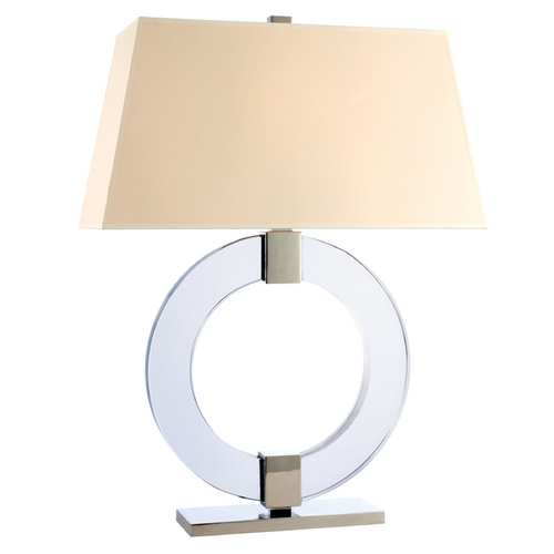 Hudson Valley Lighting Modern Table Lamp with White Shade in Polished Nickel Finish L608-PN-WS