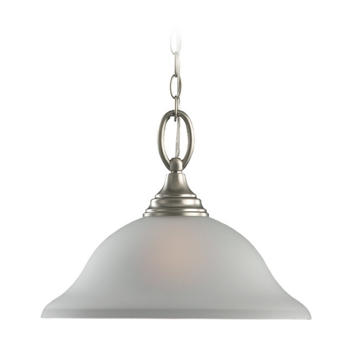 Sea Gull Lighting Pendant Light with White Glass in Brushed Nickel Finish 65625-962