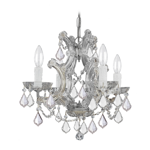 Crystorama Lighting Crystal Mini-Chandelier in Polished Chrome Finish 4474-CH-CL-MWP