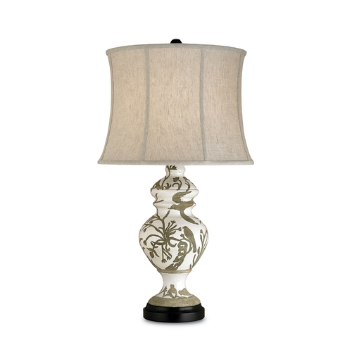 Currey and Company Lighting Table Lamp with Beige / Cream Shade in Tawny White Finish 6049