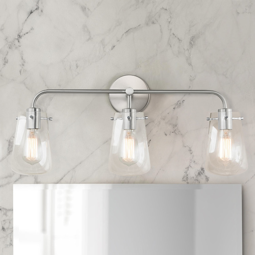 Design Classics Lighting 3-Light Clear Glass Bathroom Light Satin Nickel 1853-09