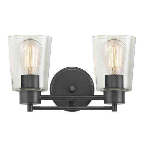 Design Classics Lighting Industrial Clear Glass Bathroom Light Black 2 Lt 702-07 GL1027-CLR