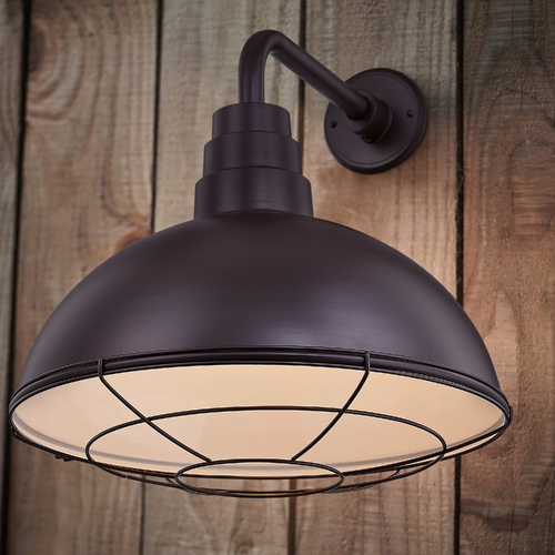 Recesso Lighting by Dolan Designs Bronze Gooseneck Barn Light with 18-Inch Caged Dome Shade BL-ARMD2-BZ/BL-SH16D/CG16S