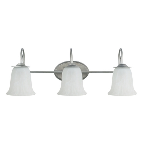 Sea Gull Lighting Bathroom Light with Alabaster Glass in Weathered Pewter Finish 44893-57
