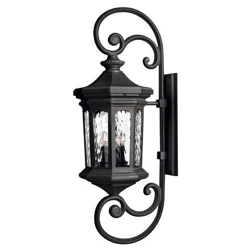Hinkley Lighting Outdoor Wall Light with Clear Glass in Museum Black Finish 1609MB