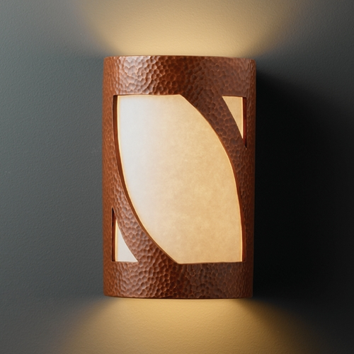 Justice Design Group Sconce Wall Light with White in Hammered Copper Finish CER-7325-HMCP