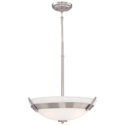 Minka Lavery Minka Hudson Bay Brushed Nickel Pendant Light with Bowl / Dome Shade 4382-84