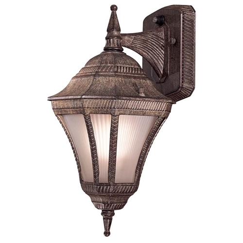 Minka Lavery Outdoor Wall Light with White Glass in Vintage Rust Finish 8201-61-PL