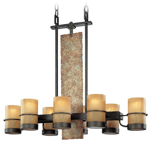 Troy Lighting Pendant Light with Beige / Cream Glass in Bamboo Bronze Finish F1848BB
