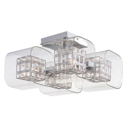 George Kovacs Lighting Modern Semi-Flushmount Light with Clear Glass in Chrome Finish P802-077