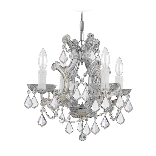 Crystorama Lighting Crystal Mini-Chandelier in Polished Chrome Finish 4474-CH-CL-S
