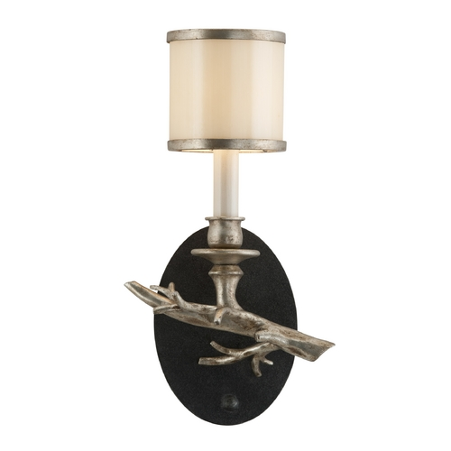 Troy Lighting Sconce Wall Light with White Glass in Bronze with Silver Leaf Finish B3442