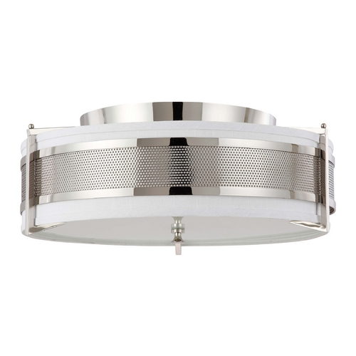 Nuvo Lighting Modern Flushmount Light with Grey Shade in Polished Nickel Finish 60/4447