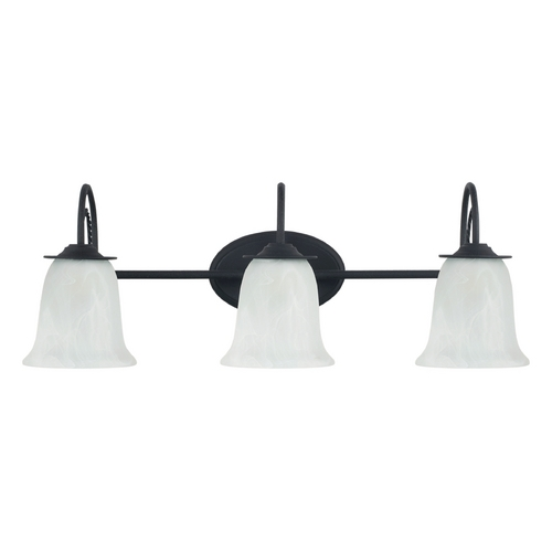 Sea Gull Lighting Bathroom Light with Alabaster Glass in Blacksmith Finish 44893-839