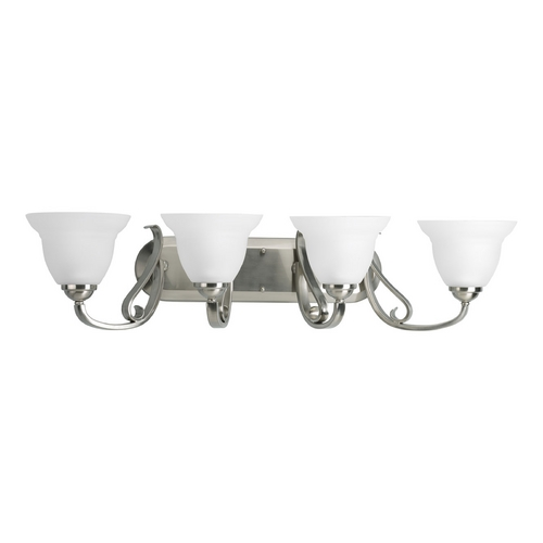 Progress Lighting Progress Bathroom Light with White Glass in Brushed Nickel Finish P2884-09