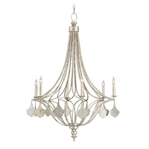 Currey and Company Lighting Currey and Company Lighting Lavinia Gracian Silver Leaf Chandelier 9343