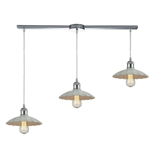 Elk Lighting Elk Lighting Corrine Polished Chrome/white Multi-Light Pendant with Scalloped Shade 67051/3L