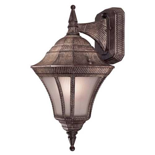 Minka Lavery Outdoor Wall Light with White Glass in Vintage Rust Finish 8202-61-PL