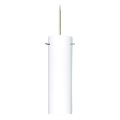 Besa Lighting Besa Lighting Copa Satin Nickel Mini-Pendant Light with Cylindrical Shade 1BT-493007-SN
