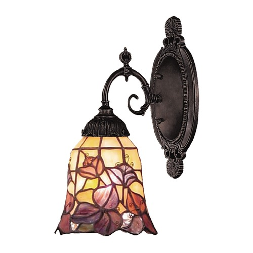 Elk Lighting Sconce with Tiffany Glass in Bronze Finish 071-TB-17