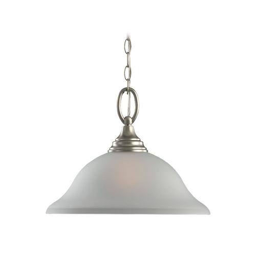 Sea Gull Lighting Pendant Light with White Glass in Brushed Nickel Finish 65625BLE-962