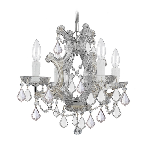 Crystorama Lighting Crystal Mini-Chandelier in Polished Chrome Finish 4474-CH-CL-SAQ