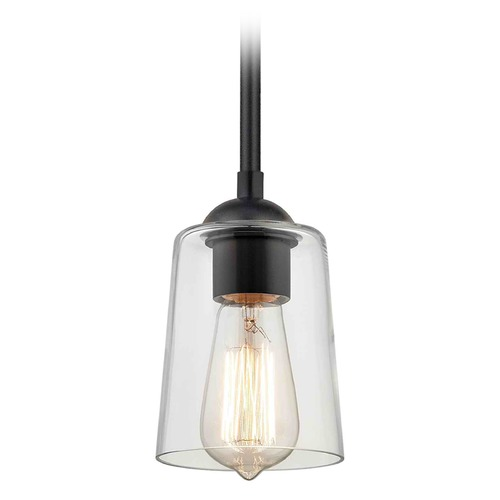 Design Classics Lighting Design Classics Gala Fuse Matte Black Mini-Pendant Light with Cylindrical Shade 581-07 GL1027-CLR