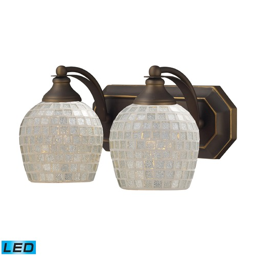 Elk Lighting Elk Lighting Bath and Spa Aged Bronze LED Bathroom Light 570-2B-SLV-LED