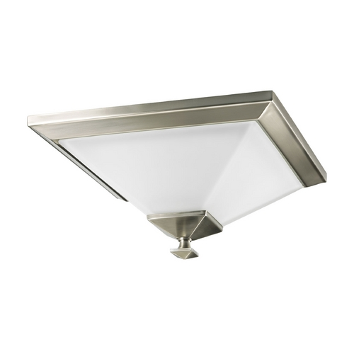 Progress Lighting Progress Flushmount Light with White Glass in Brushed Nickel Finish P3854-09