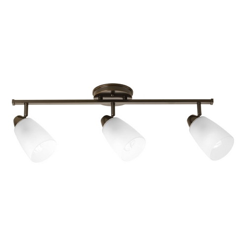 Progress Lighting Modern Directional Spot Light with White Glass in Antique Bronze Finish P3363-20