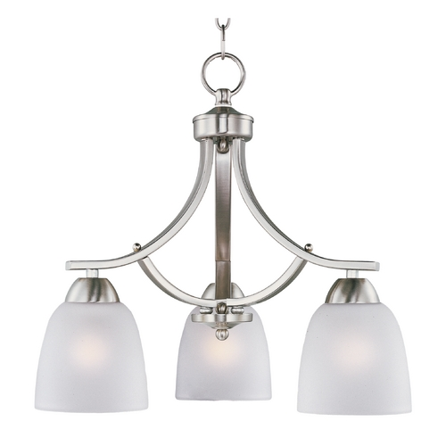 Maxim Lighting Mini-Chandelier with White Glass in Satin Nickel Finish 11223FTSN