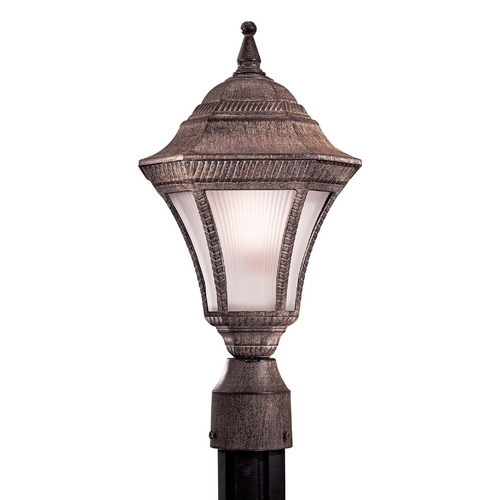 Minka Lighting Post Light with White Glass in Vintage Rust Finish 8206-61-PL