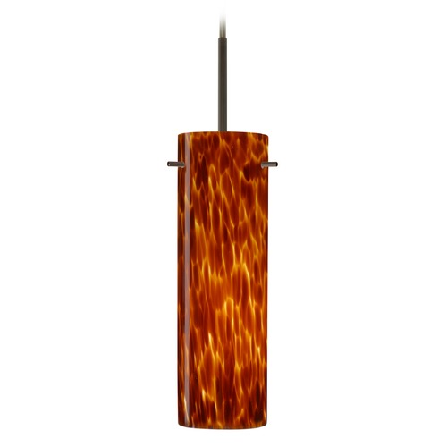 Besa Lighting Besa Lighting Copa Bronze Mini-Pendant Light with Cylindrical Shade 1BT-493018-BR