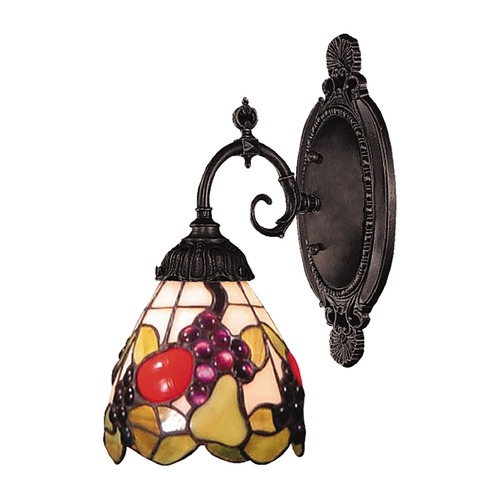 Elk Lighting Sconce with Tiffany Glass in Bronze Finish 071-TB-19