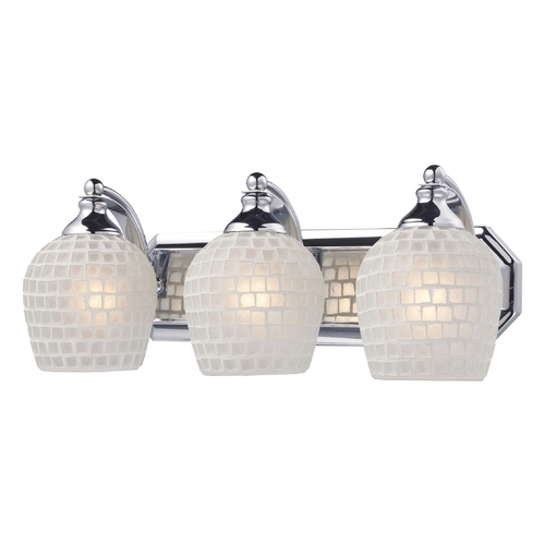 Elk Lighting Bathroom Light with Art Glass in Polished Chrome Finish 570-3C-WHT