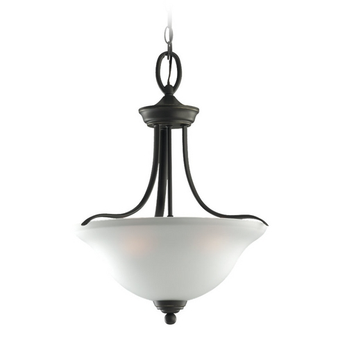 Sea Gull Lighting Pendant Light with White Glass in Heirloom Bronze Finish 65626-782