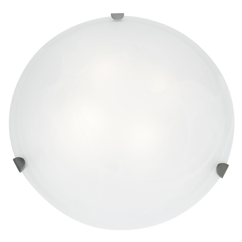 Access Lighting Modern Flushmount Light with White Glass in Brushed Steel Finish 23021-BS/WH