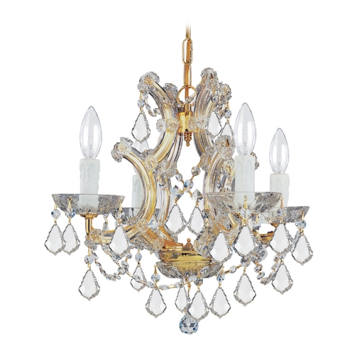 Crystorama Lighting Crystal Mini-Chandelier in Gold Finish 4474-GD-CL-MWP