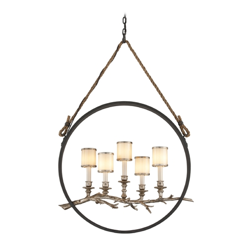 Troy Lighting Island Light with White Glass in Bronze with Silver Leaf Finish F3445