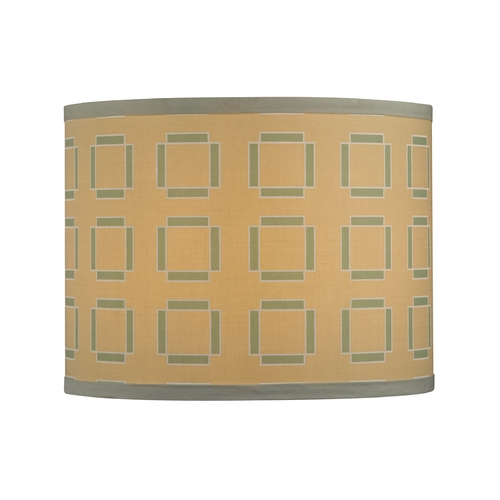 Design Classics Lighting Tan Drum Lamp Shade with Turquoise Cubic Pattern - Spider Assembly SH9545