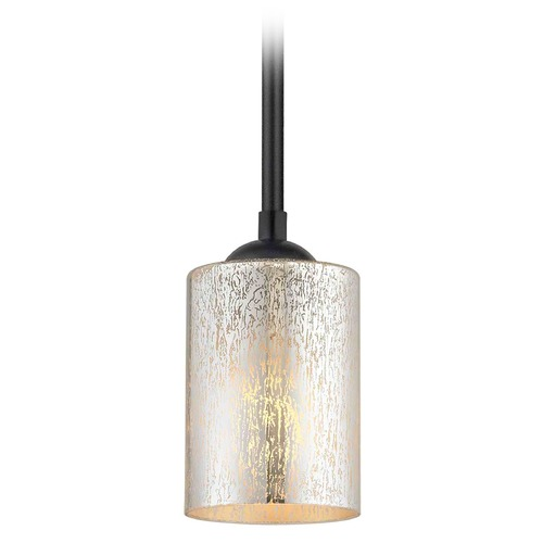 Design Classics Lighting Black Mini-Pendant Light Mercury Glass Cylindrical Craftmade Lighting 581-07 GL1039C