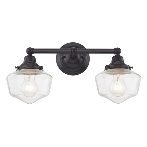 Design Classics Lighting Clear Glass Schoolhouse Bathroom Light Bronze 2 Light 17 Inch Length WC2-220 GF6-CL