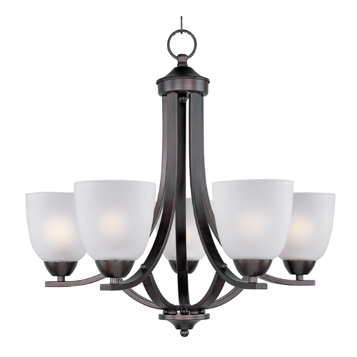 Maxim Lighting Chandelier with White Glass in Oil Rubbed Bronze Finish 11225FTOI
