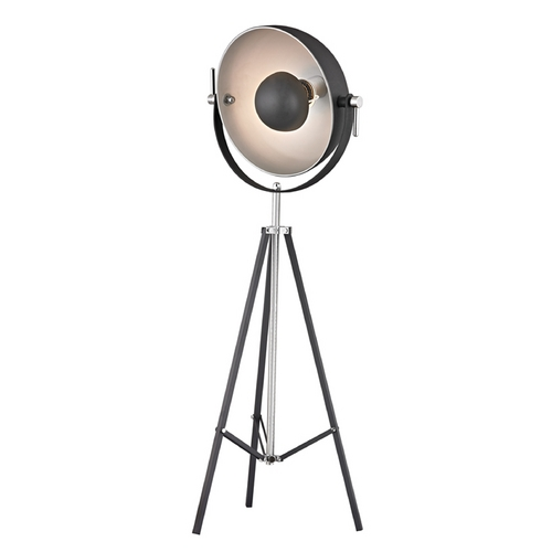 Dimond Lighting Mid-Century Modern Floor Lamp Matte Black with Polished Nickel Backstage by Dimond Lighting D2464